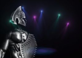 image of a spartan warrior in bright lights