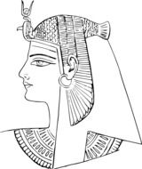 Black and white drawing of Pharaoh clipart