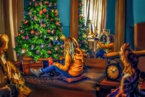 little girl near the christmas tree in the living room