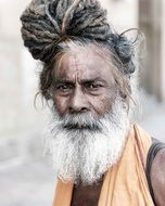 portrait of an old man in india