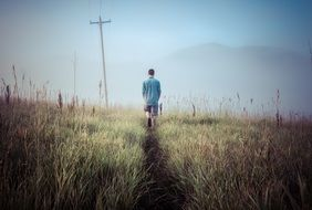 man Walking meadow