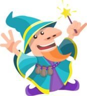 drawing of a funny wizard with a magic stick