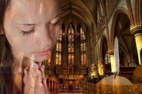 pacified girl prays in church