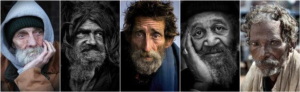 collage of portraits of old men