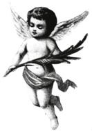 Black and white vintage drawing of the angel clipart