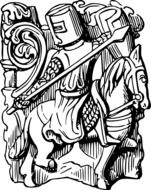 black and white graphic image of a knight in armor