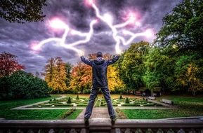 mystical image of a young man controlling lightning