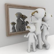 Looking in mirror clipart
