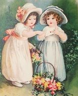 two Child Girls in victorian dreses with flowers, Vintage illustration