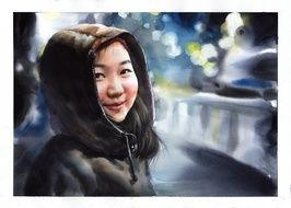 watercolor portrait of an asian woman in a jacket