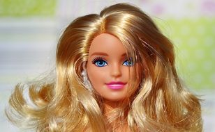 Barbie doll with curly hair