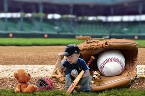 little boy with a bat against the background of the scenery in the form of a baseball glove with a ball