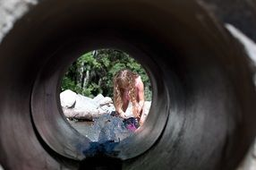 view through a water pipe on a person