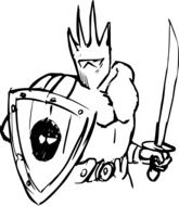 drawing of a warrior with a sword and shield
