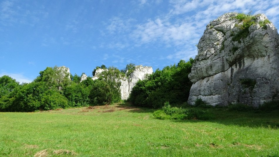 limestone rocks in poland on a sunny day