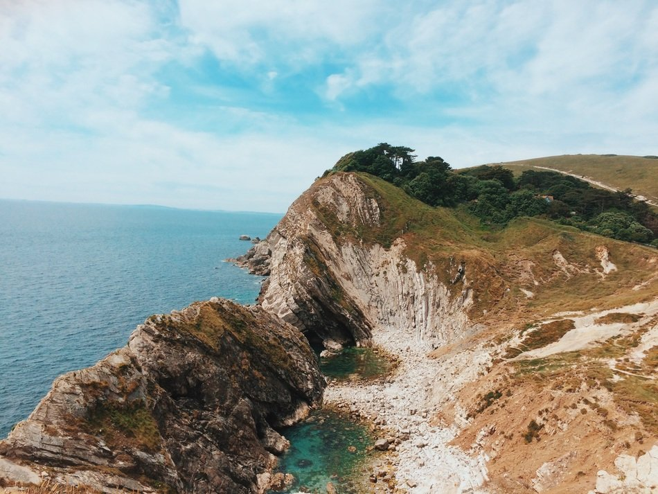 panorama of the Jurassic coast in England