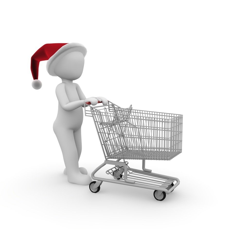 Santa Claus with a trolley