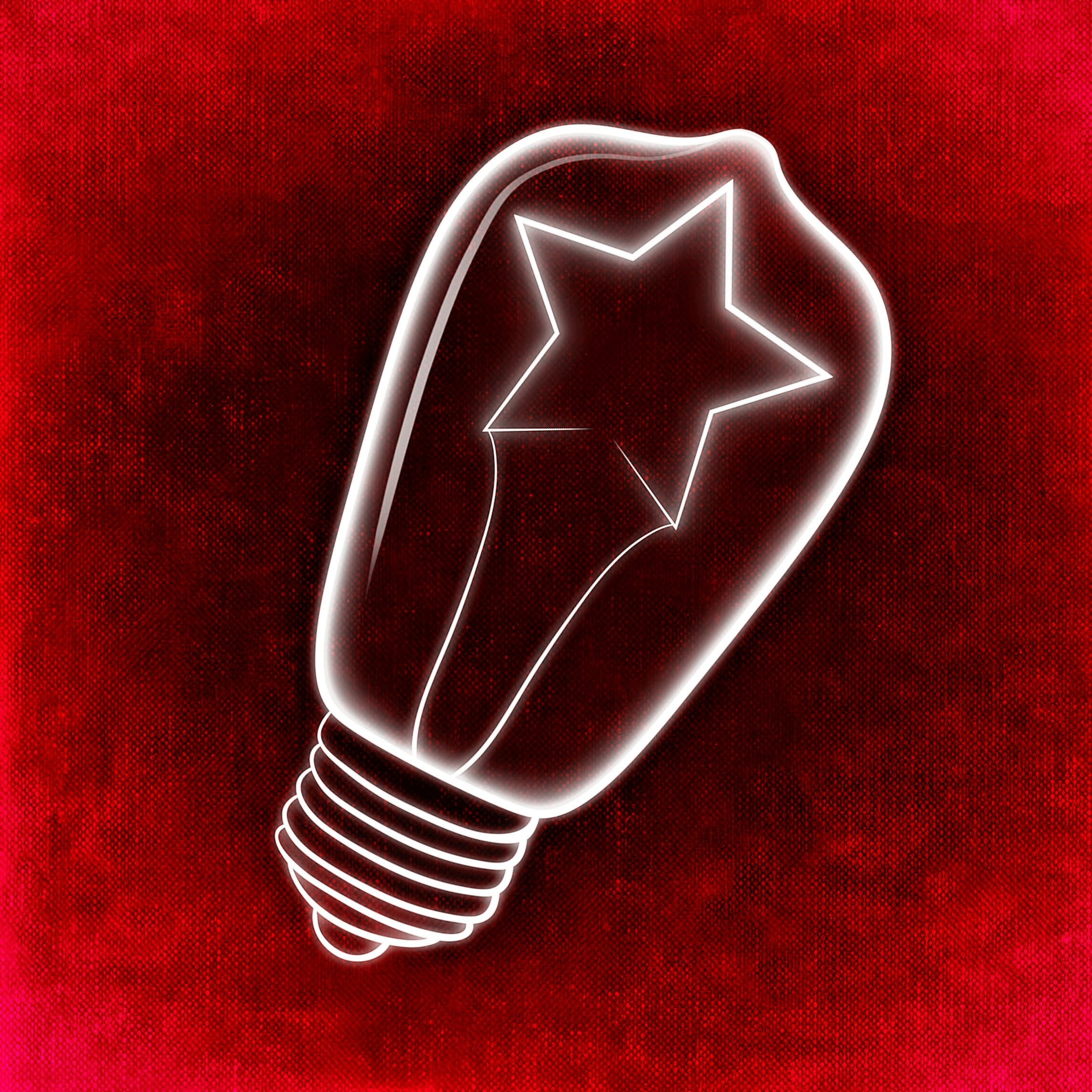 Drawn Symbol Of Creativity On A Red Background Free Image