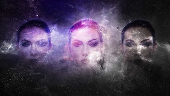 Fantasy, Girl Faces in Universe, digital art
