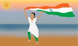 running woman with india National Flag above head, illustration