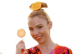 blonde model with lollipop