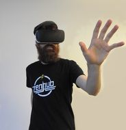 man with glasses for virtual reality