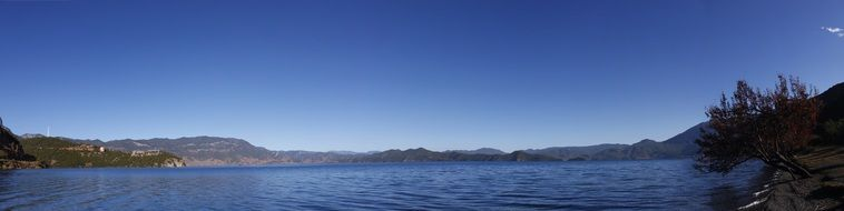 panoramic view of Lugu Lake, china, Yunnan