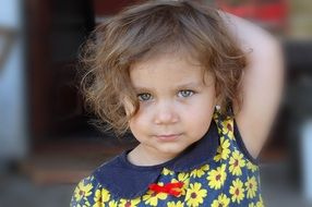 Little Romanian Girl Curly Hair