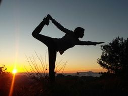 Women Silhouette Yoga sunset,