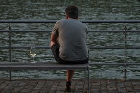 relaxed man with wine glass