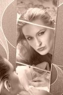 Dana maleshova is reflected in the mirror in monochrome image
