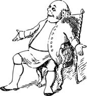 comic character sitting on chair