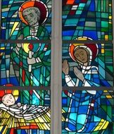 stained glass with nativity scene