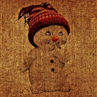 drawing of a snowman on canvas