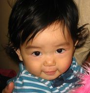 Cute asian Toddler Girl looking straight, head portrait