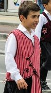 boy in traditional costume on holiday in cyprus
