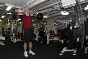 man with barbell in the gym