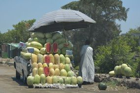 Watermelon Market along the road in egypt