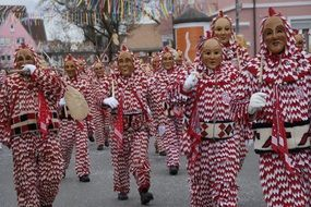 red-white costumes at the Swabian-Alemannic carnival