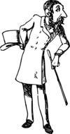 black and white graphic image of a comic men with a top hat
