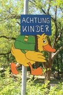 achtung kinder sign drawing