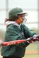 Softball, Girl in uniform with Bat, Hitter