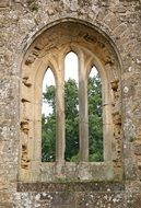 arched window in a medieval fortress