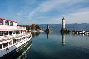 lighthouse in the harbor of lindau