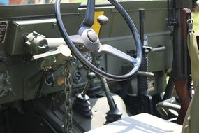 old military jeep inside view