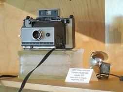 retro camera as a museum exhibit