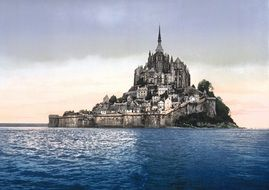 Mont-Saint-Michel - a small rocky island, the island turned into a fortress