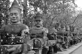 black and white image of the temple complex in cambodia