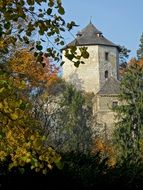 view of the castle from the autumn park