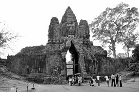 black and white image of cambodia temple